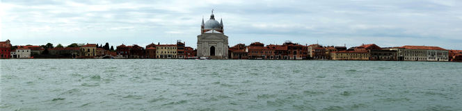 Venice Italy, Lido island. Old buildings and cathedral on the Lido Island in Venice , Italy. Europe. Panoramic photography Royalty Free Stock Images