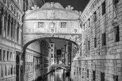 VENICE, ITALY - MAR 23, 2014: Bridge of Sighs at night with tour Royalty Free Stock Photo