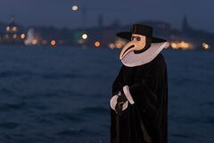 Free Venice, Italy - March 2, 2019: Person Dressed As A Carnival Of Doctor De La Plague Royalty Free Stock Photography - 168878487