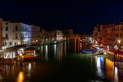 Venice, Italy - March 27, 2019: Beautiful night view of the Grand Canal from Rialto Bridge in Venice with the night stars royalty free stock images