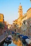 VENICE, ITALY - MARCH 13, 2014: Fondamenta Giaradini street and canal Royalty Free Stock Photos