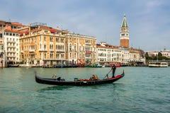 Venice, Italy - Mart, 2015. Gondola on Canal Grande. View of Gondola on Canal Grande in Venice at sunny day stock photo