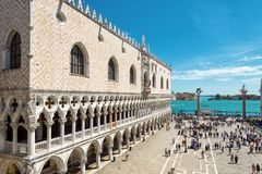 Doge`s Palace in the St Mark`s Square in Venice. Venice, Italy - May 21, 2017: The famous Doge`s Palace in the Piazza San Marco, or St Mark`s Square. This is the royalty free stock photo