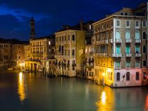 Venice, Italy - 20 May 2105: Night view of the Grand Canal Royalty Free Stock Photos