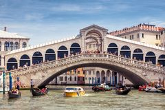 Rialto Bridge over the Grand Canal in Venice Royalty Free Stock Images