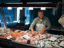 Venice, Italy - 22 May 2105: Rialto fish markets. Fishmonger at Stock Photos
