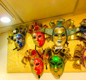 Venice, Italy - May 10, 2014: Venetian carnival masks, souvenir shop on a street Royalty Free Stock Photography
