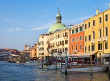 Venice, Italy - 19 May 2105: View of the Grand Canal, and buildi Royalty Free Stock Images