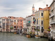 Venice, Italy - 20 May 2105: View of the Grand Canal, and buildi Royalty Free Stock Photos
