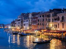 Venice, Italy - 20 May 2105: View from the Rialto Bridge at dusk Stock Photography