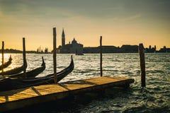 Venice gondolas and skyline Stock Images