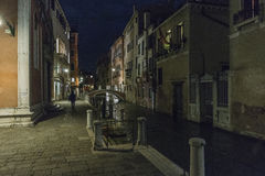 Venice in Italy at night stock images