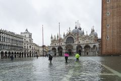 Free VENICE, ITALY - November 12, 2019: St. Marks Square Piazza San Marco During Flood Acqua Alta In Venice, Italy. Venice High Stock Images - 163907504
