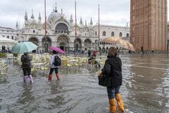 Free VENICE, ITALY - November 12, 2019: St. Marks Square Piazza San Marco During Flood Acqua Alta In Venice, Italy. Venice High Royalty Free Stock Image - 163967146