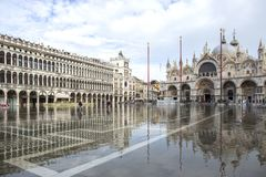 Free Venice, Italy - November 27, 2018: High Water On St. Mark`s Square In Venice. St. Marks Square Piazza San Marco During Flood Royalty Free Stock Photography - 133521907