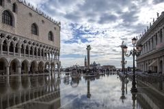 Free Venice, Italy - November 27, 2018: St. Marks Square Piazza San Marco During Flood Acqua Alta In Venice, Italy. Doge`s Palace Royalty Free Stock Photo - 133521455