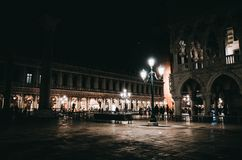Saint Mark Square at night, VENICE, ITALY. VENICE, ITALY - NOVEMBER 14, 2014 : Saint Mark Square at night stock image