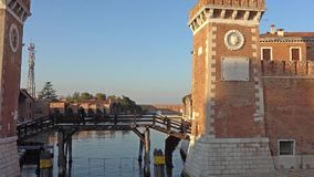 VENICE, ITALY - OCTOBER, 2017: The building of the arsenal in Venice, Italy. Venice is a city in northeastern Italy and stock video