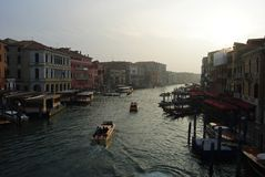 Grand Canal in Venice at dusk. Royalty Free Stock Images