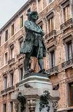 Venice, Italy - October 13, 2017: The monument of Carlo Goldoni. Carlo Goldoni is a great Italian playwright and Stock Image