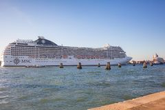 VENICE, ITALY - OCTOBER 07, 2017:  ocean cruise liner  MSC cruise ship in Venice royalty free stock photos