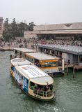 Venice, Italy - October 13, 2017: Santa Lucia railway station building in Venice. In the foreground there is a river Stock Photo