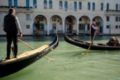 VENICE, ITALY - OCTOBER 7 , 2017: Two gondolas, Venice. VENICE, ITALY - OCTOBER 7 , 2017: Gondolier floats on the Grand Canal, the Rialto bridge in background Stock Photos