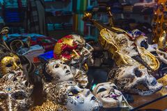 VENICE, ITALY - OKTOBER 27, 2016: Authentic colorfull handmade venetian carnival mask in Venice, Italy royalty free stock image