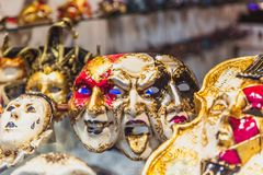VENICE, ITALY - OKTOBER 27, 2016: Authentic colorfull handmade venetian carnival mask in Venice, Italy stock photos