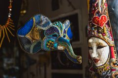 VENICE, ITALY - OKTOBER 27, 2016: Authentic colorfull handmade venetian carnival mask in Venice, Italy stock photography