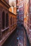 VENICE, ITALY - OKTOBER 27, 2016: Quiet beautiful small canal in Venice, Italy stock photo