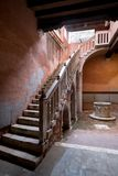 Venice Italy. Open stairway and partially enclosed courtyard at the House of Carlo Goldoni stock photos