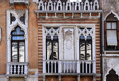 Venice, Italy - palazzetto Tron Memmo on Grand Canal. Venice, Italy  - Architectural detail of palazzetto Tron Memmo on Grand Canal in byzantine neo gothic style Royalty Free Stock Image