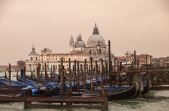 Venice Italy with parked gondolas Royalty Free Stock Photos
