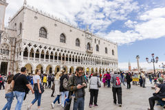 Venice in Italy. Piazza de san Marco`s Square of San Marco with basilica and tourists in Venice . Italy . Europe. Dodge`s Palce royalty free stock photography