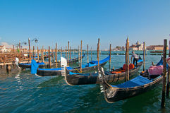 Venice Italy pittoresque view of gondolas Royalty Free Stock Photo