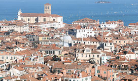 Venice, Italy, red-tiled roofs of the houses and the Church Royalty Free Stock Photo
