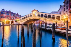 Venice, Italy. Rialto bridge and Grand Canal at twilight stock images