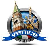 Venice Italy - Round Metal Icon Royalty Free Stock Photo