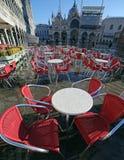 Venice Italy Saint Mark Basilica with chair during the flood Stock Photo