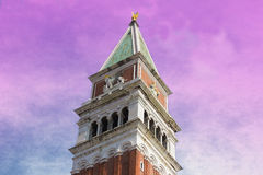 Venice, Italy: San Marco Campanile at romantic sunset Royalty Free Stock Photography