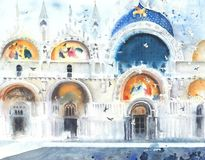 Venice Italy San Marco dome watercolor painting illustration Stock Image