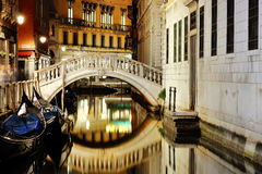 Venice, Italy - scenic view of venetian canal at night Royalty Free Stock Photos