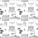 Venice Italy seamless pattern. Hand drawn sketch with gondolas, gondolier clothes, houses, market bridge and cafe table with chair Royalty Free Stock Photo