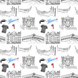 Venice Italy seamless pattern. Hand drawn sketch with gondolas, gondolier clothes, houses, market bridge and cafe table with chair Stock Photography