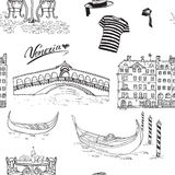 Venice Italy seamless pattern. Hand drawn sketch with gondolas, gondolier clothes, houses, market bridge and cafe table with chair Stock Photos