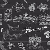 Venice Italy seamless pattern. Hand drawn sketch with map of Italy, gondolas, gondolier clothes, carnival venetian masks, houses, Royalty Free Stock Image