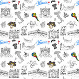 Venice Italy seamless pattern. Hand drawn sketch with map of Italy, gondolas, gondolier clothes, carnival venetian masks, houses, Royalty Free Stock Photo