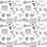 Venice Italy seamless pattern. Hand drawn sketch with map of Italy, gondolas, gondolier clothes, carnival venetian masks, houses, Stock Photography