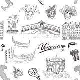 Venice Italy seamless pattern. Hand drawn sketch with map of Italy, gondolas, gondolier clothes, carnival venetian masks, houses, Stock Photo